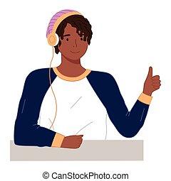 tipo, pollice, giovane, sorridente, headphones., su., brunetta, lavorato maglia, uomo, cappello, felice, rosa, ragazzo