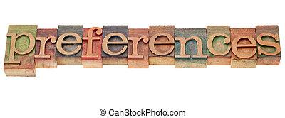 tipo, preferenze, letterpress