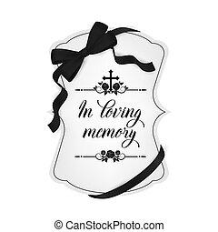tipografia, condoglianza, scheda, funerale, vendemmia, vettore
