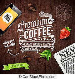 tipografia, legno, poster., premio, disegno, caffè, pubblicità
