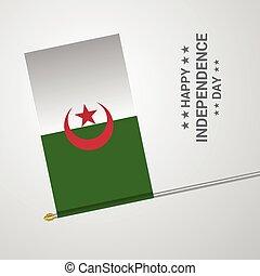 tipografico, bandiera, vettore, disegno, alegeria, giorno, indipendenza