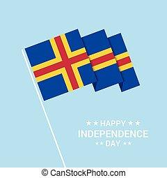 tipografico, bandiera, vettore, disegno, giorno, indipendenza, aland