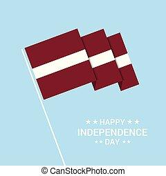 tipografico, bandiera, vettore, disegno, giorno indipendenza, lettonia