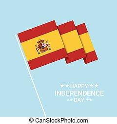 tipografico, bandiera, vettore, disegno, giorno indipendenza, spagna