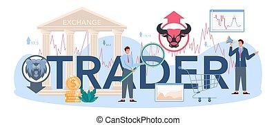 tipografico, header., analysis., borsa, investimento, finanziario, commerciante