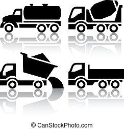 tipper, set, icone, -, miscelatore, concreto, carreggiare trasporto