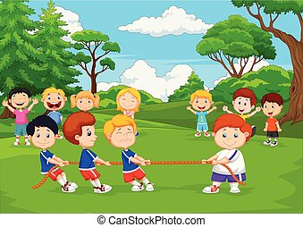 tirare, gioco, gruppo, guerra, cartone animato, parco, bambini