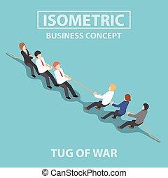 tirare, persone affari, gioco, guerra, isometrico