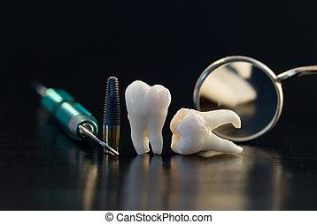 titanio, dentale, impianto