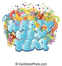 title., vettore, disegno, anno, nuovo, felice