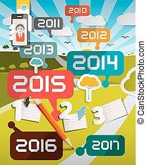 titoli, timeline, illustrazione, anni, vettore, fondo, infographics, paesaggio