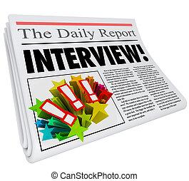 titolo, celebrità, risposte, intervista, domande, giornale, articolo