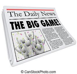 titolo, grande, aggiornamento, sport, gioco, giornale, notizie
