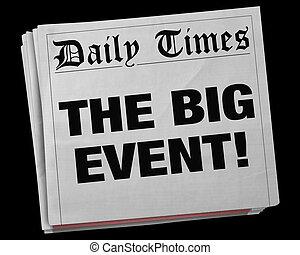 titolo, grande, illustrazione, giornale, festa, evento celebrazione, 3d