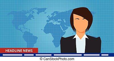 titolo, reporter, presentatore, notizie, o, rottura, tv, donna