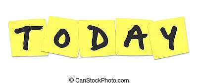 to-do, parola, note, giallo, appiccicoso, promemoria, oggi