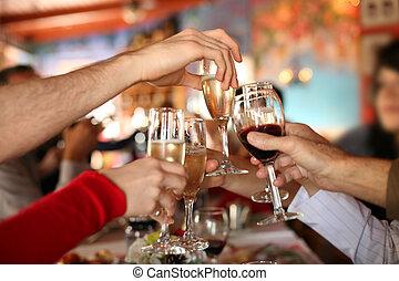 toast., occhiali, tenere mani, fabbricazione, champagne, celebration., vino