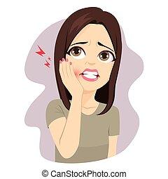 toccante, dolore, guancia, mal di denti, donna