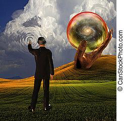 tocchi, creare, cielo, increspature, sfera, completo, rivelato, galassia, uomo