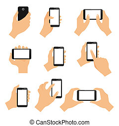 tocco, gesti, schermo, mano
