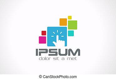 tocco, interfaccia, sviluppatore, template., logotipo