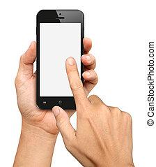 tocco, smartphone, nero, tenendo mano