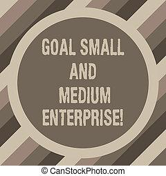 tono, foto, enterprise., crescita, startups, bordo, scopo, due, scrittura, nota, testo, nuovo, sme, vuoto, mezzo, affari, esposizione, space., piccolo, cerchio, forma, showcasing, rotondo