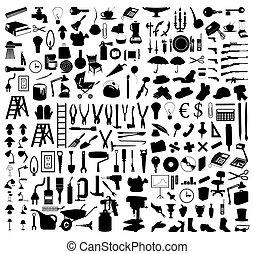 tools., illustrazione, silhouette, vettore, vario, soggetti