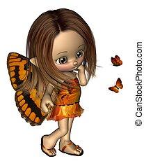 toon, farfalla, fata, -, arancia