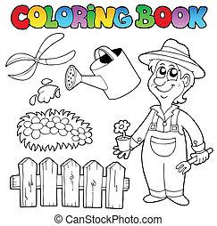 topic, libro colorante, giardino