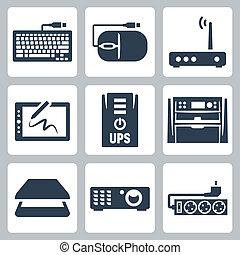 topo, proiettore, vettore, icone, ups, tavoletta, scanner, multifunction, fiotto, modem, congegno, hardware, calcolatore, tastiera, filtro, set: