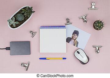 topo, succulents, foto, clip, carta, quaderno, penna, aperto