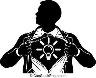 torace, affari, superhero, uomo idea, strappo, camicia