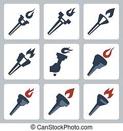 torce, vettore, set, isolato, icone