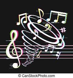 tornado, note, glitch, musica
