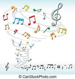 tornado, note, musica