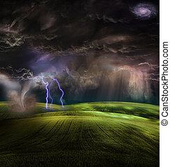 tornado, tempestoso, paesaggio