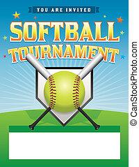 torneo, illustrazione, softball