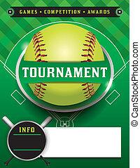 torneo, sagoma, illustrazione, softball