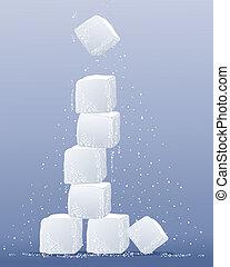 torre, cubo, zucchero