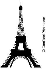 torre, eiffel, silhouette