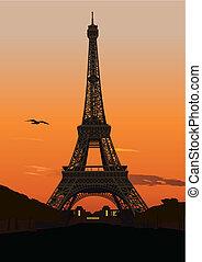 torre, eiffel, tramonto