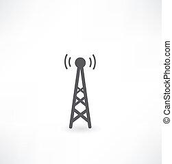 torre, onde, radio, icona