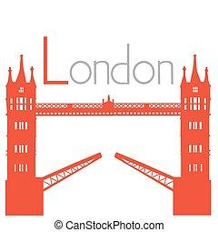 torre, vettore, ponte, illustrazione