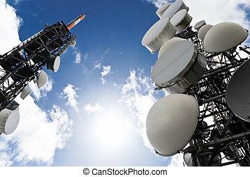 torreggiare, sotto, telecomunicazione, vista