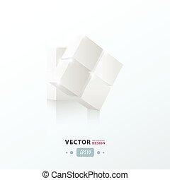 torsione, 3d, bianco, colorare, cubo