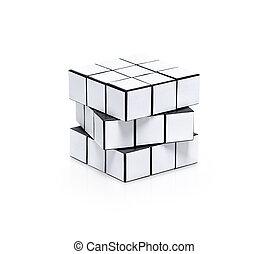 torsione, bianco, vuoto, puzzle, cubico
