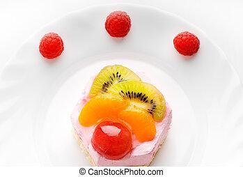 torta, basso-caloria, saporito, frutta