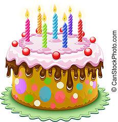 torta, candele, compleanno, urente