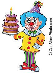 torta, cartone animato, pagliaccio
